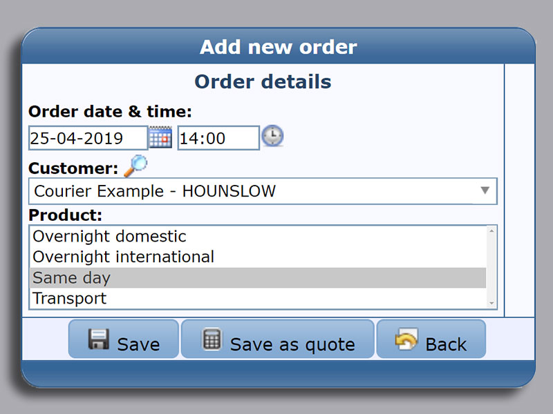 Simple order entry EasyTrans