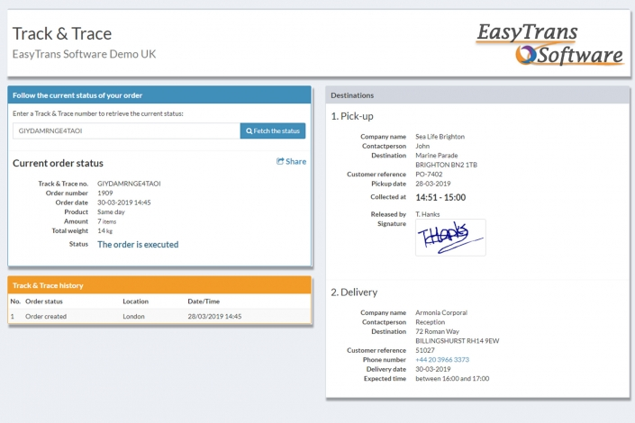 Track & Trace - EasyTrans Software